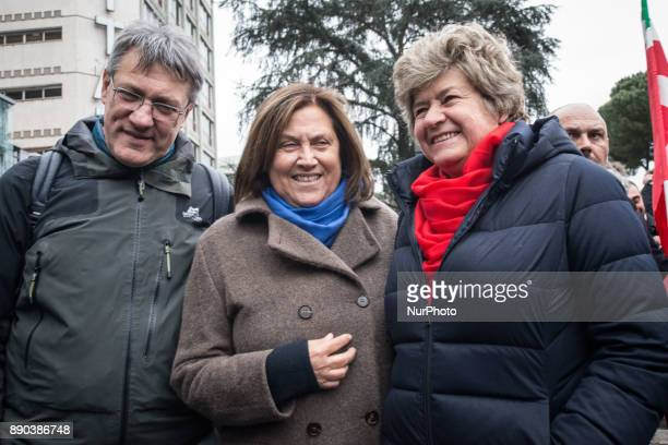 Maurizio Landini Susanna Camusso Lucia Annunziata during antifascist garrison in front of the Republic's headquarters After the threats addressed to...