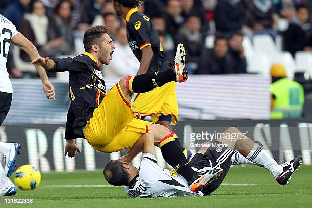 Maurizio Lauro of AC Cesena fights for the ball with Andrea Bertolacci of US Lecce during the Serie A match between AC Cesena and US Lecce at Dino...