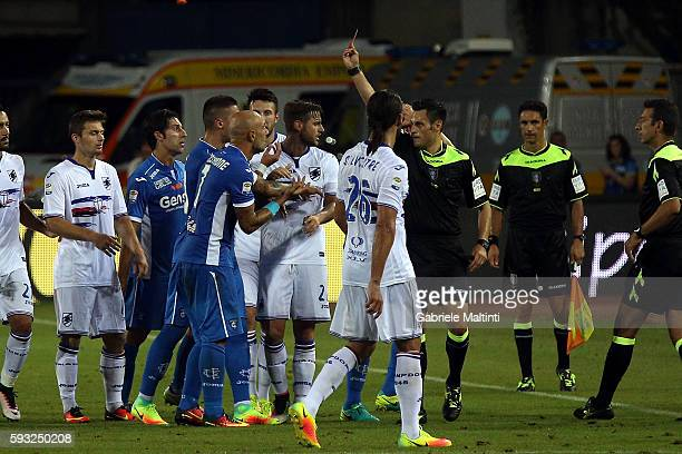 Maurizio Marani referee show the red card to Massimo Maccarone of Empoli Fc during the Serie A match between Empoli FC and UC Sampdoria at Stadio...