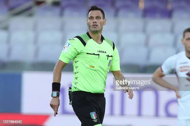 Maurizio Mariani referee during the Serie A match between ACF Fiorentina and Torino FC at Stadio Artemio Franchi on July 19, 2020 in Florence, Italy.