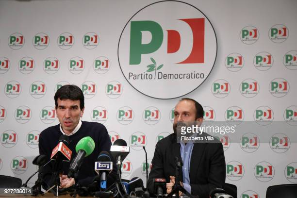 Maurizio Martina and Matteo Orfini hold a speech after the outcoming exit poll of the Italian elections on March 5 2018 in Rome Italy The economy and...
