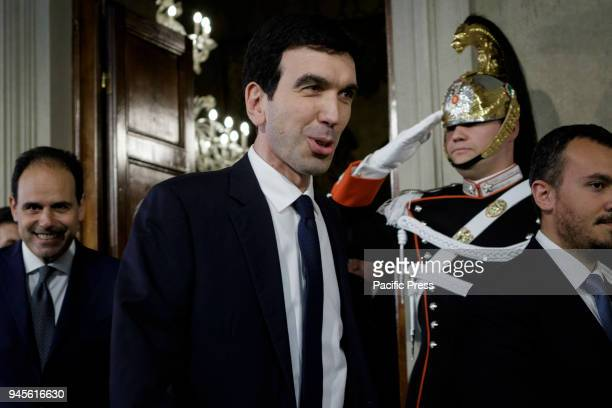 Maurizio Martina Democratic Party secretary arrives to speak with journalists after a meeting with Italian President Sergio Mattarella during a...
