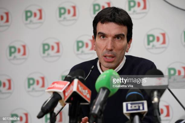 Maurizio Martina holds a speech after the outcoming exit poll of the Italian elections on March 5 2018 in Rome Italy The economy and immigration are...