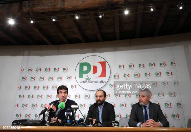 Maurizio Martina Matteo Orfini and Lorenzo Guerini hold a speech after the outcoming exit poll of the Italian elections on March 5 2018 in Rome Italy...