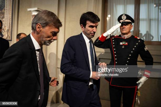 Maurizio Martina Secretary of the Democratic Party leaves the Quirinal palace after a new day of meetings with Italian President Sergio Mattarella on...