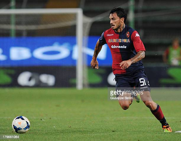 Maurizio Pinilla of Cagliari in action during the Serie A match between Cagliari Calcio and Atalanta BC at Stadio Nereo Rocco on August 25 2013 in...