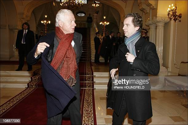 Maurizio Remmert Carla Bruni's father and David Martinon in Bucarest Romania on February 04th 2008