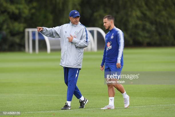 Maurizio Sarri and Eden Hazard of Chelsea during a training session at Chelsea Training Ground on August 10 2018 in Cobham England