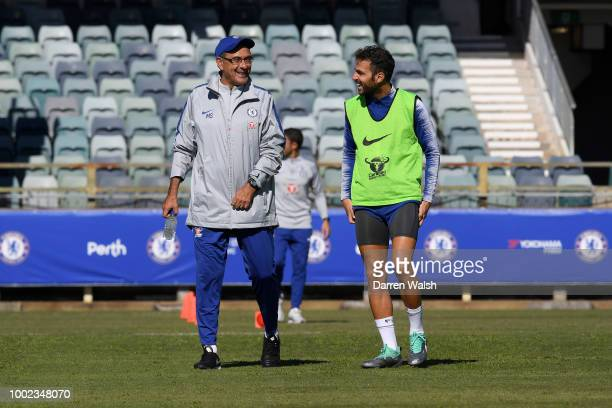 Maurizio Sarri and Gianfranco Zola of Chelsea during a training session at the WACA in Perth on July 20 2018 in Perth Australia