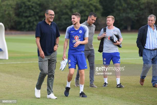 Maurizio Sarri and Jorginho of Chelsea after a training session at Chelsea Training Ground on July 14 2018 in Cobham England