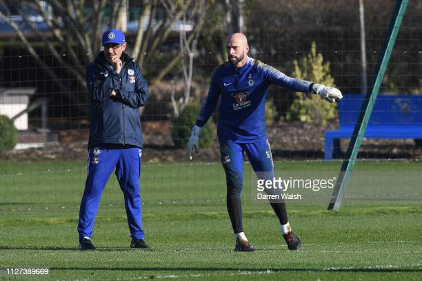 Maurizio Sarri and Willy Caballero of Chelsea during a training session at Chelsea Training Ground on February 25, 2019 in Cobham, England.