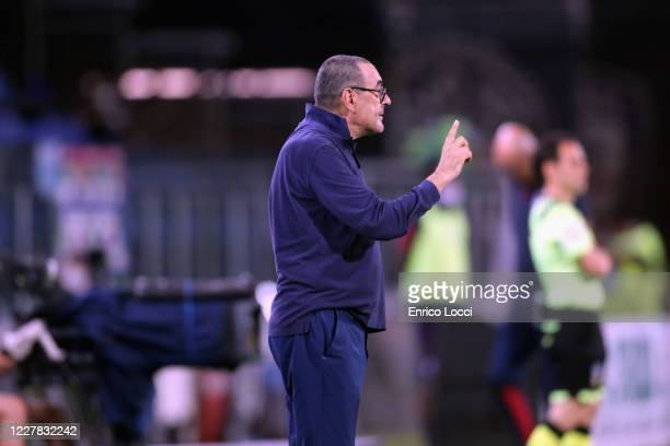 Maurizio Sarri coach of Juventus reacts during the Serie A match between Cagliari Calcio and Juventus at Sardegna Arena on July 29, 2020 in Cagliari,...