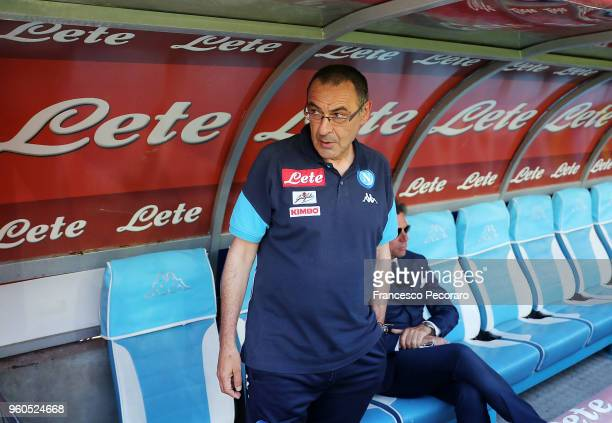 Maurizio Sarri coach of SSC Napoli before the Serie A match between SSC Napoli and FC Crotone at Stadio San Paolo on May 20 2018 in Naples Italy