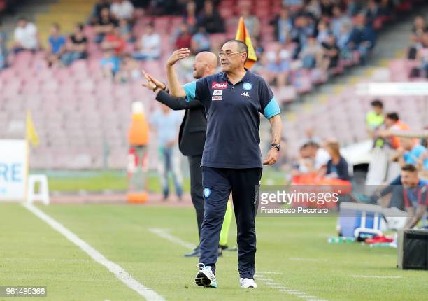 Maurizio Sarri coach of SSC Napoli gestures during the serie A match between SSC Napoli and FC Crotone at Stadio San Paolo on May 20 2018 in Naples...