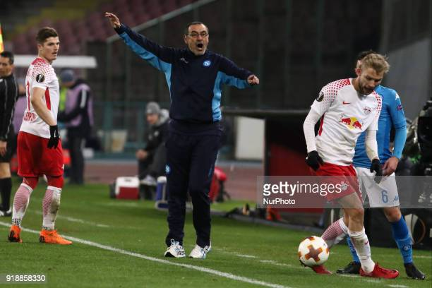 Maurizio Sarri during the Europe Ligue football SSC Napoli v RB Leipzing at S Paolo Stadium in Naples on February 15 2018