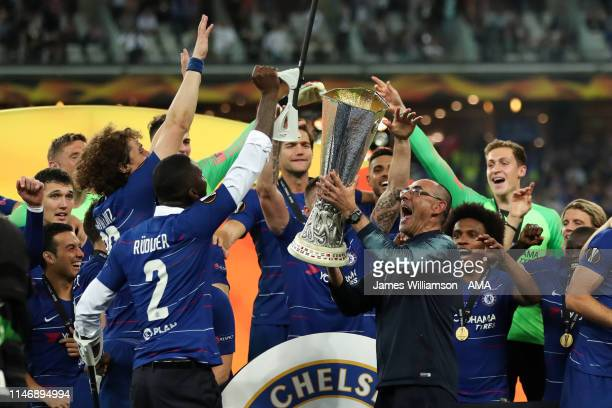 Maurizio Sarri head coach / manager of Chelsea lifts the trophy after winning the UEFA Europa League Final between Chelsea and Arsenal at Baku...
