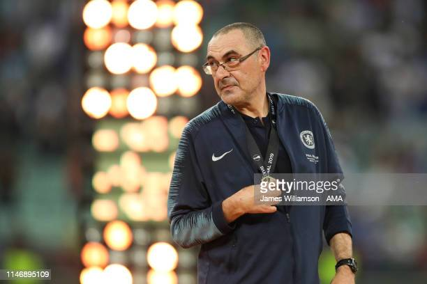Maurizio Sarri head coach / manager of Chelsea with his medal after winning the UEFA Europa League Final between Chelsea and Arsenal at Baku Olimpiya...