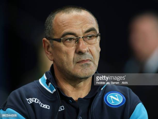 Maurizio Sarri head coach / manager of Napoli during the UEFA Champions League group F match between Manchester City and SSC Napoli at Etihad Stadium...