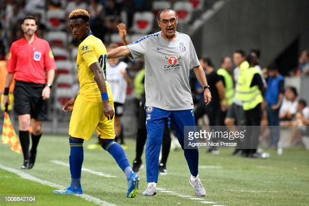 Maurizio Sarri head coach of Chelsea and Callum Hudson Odoi during the International Champions Cup match between Chelsea and Inter Milan at Allianz...