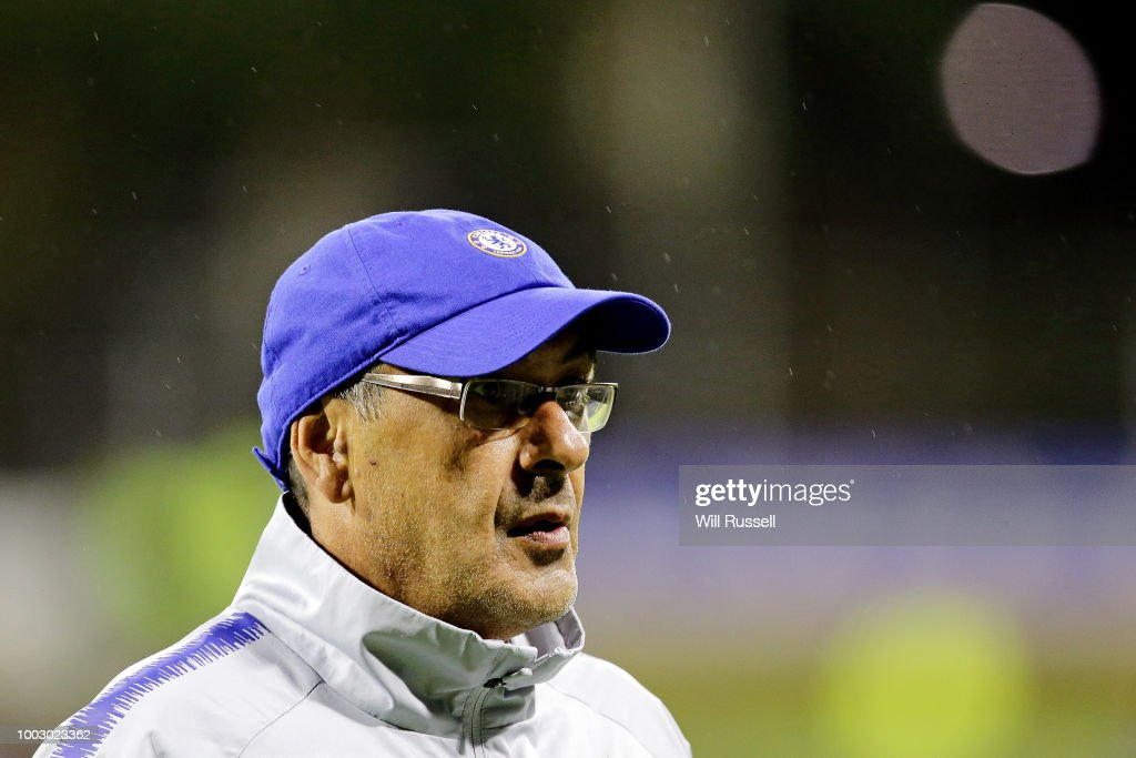 Maurizio Sarri, head coach of Chelsea during a Chelsea FC training session at The WACA on July 21, 2018 in Perth, Australia.