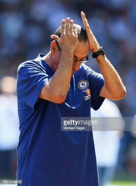 Maurizio Sarri Head Coach of Chelsea reacts during the FA Community Shield between Manchester City and Chelsea at Wembley Stadium on August 5 2018 in...