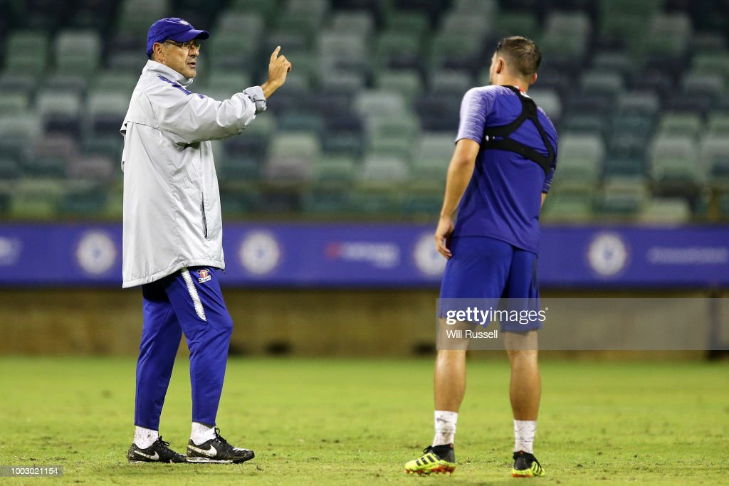 Maurizio Sarri, head coach of Chelsea speaks to players during a Chelsea FC training session at The WACA on July 21, 2018 in Perth, Australia.