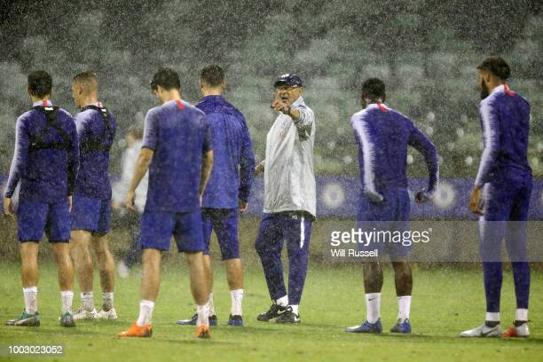 Maurizio Sarri head coach of Chelsea speaks to players during a Chelsea FC training session at The WACA on July 21 2018 in Perth Australia