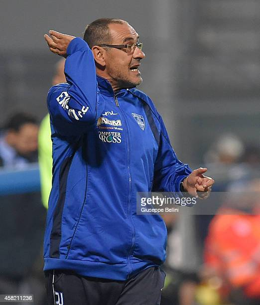 Maurizio Sarri head coach of Empoli during the Serie A match between US Sassuolo Calcio and Empoli FC at Mapei Stadium on October 28 2014 in Reggio...