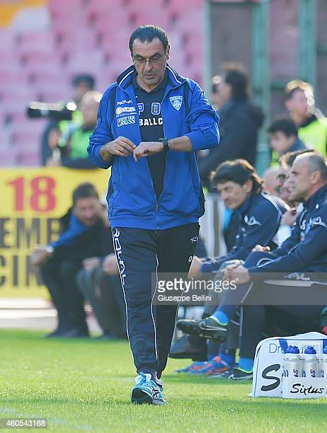 Maurizio Sarri head coach of Empoli during the Serie A match between SSC Napoli and Empoli FC at Stadio San Paolo on December 7 2014 in Naples Italy