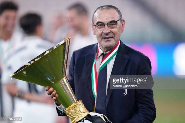 Maurizio Sarri , head coach of Juventus FC, celebrate after winning the Serie A Championship 2019-2020 after the Serie A match between Juventus Fc...