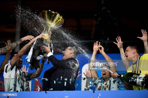 Maurizio Sarri , head coach of Juventus FC, celebrates woth the trophy during the award ceremony for Serie A 2019-2020 title at end of the Serie A...