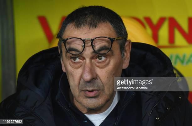 Maurizio Sarri head coach of Juventus looks on during the Serie A match between Hellas Verona and Juventus at Stadio Marcantonio Bentegodi on...