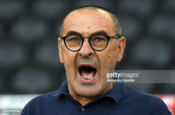 Maurizio Sarri head coach of Juventus looks on during the Serie A match between Udinese Calcio and Juventus at Stadio Friuli on July 23 2020 in Udine...