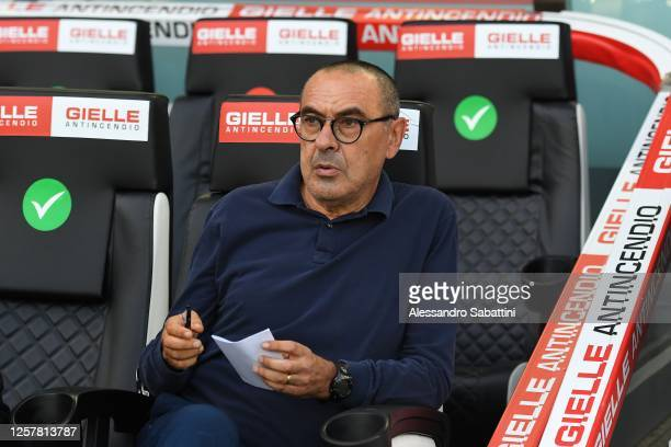 Maurizio Sarri head coach of Juventus looks on during the Serie A match between Udinese Calcio and Juventus at Stadio Friuli on July 23, 2020 in...