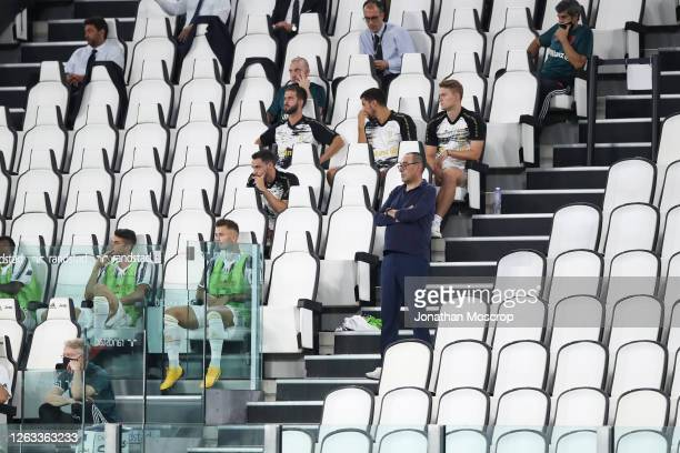 Maurizio Sarri, Head Coach of Juventus looks on from the stands as he serves a ban during the Serie A match between Juventus and AS Roma on August...