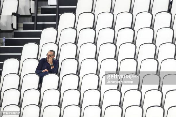 Maurizio Sarri, Head Coach of Juventus looks on from the tribune during the Serie A match between Juventus and AS Roma on August 01, 2020 in Turin,...