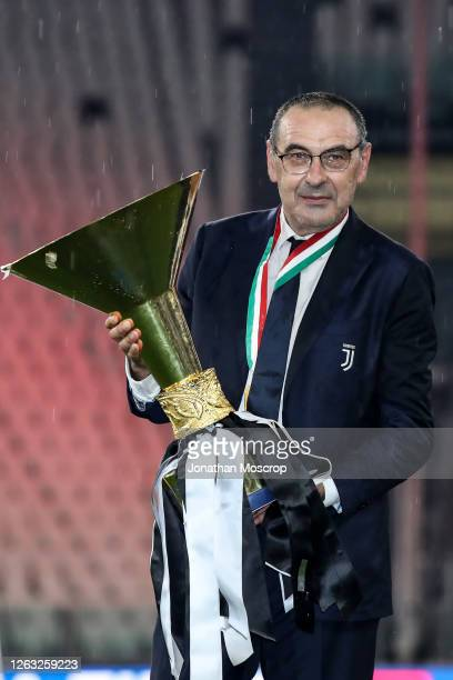 Maurizio Sarri, Head coach of Juventus, pictured with the trophy following the Serie A match between Juventus and AS Roma at on August 01, 2020 in...