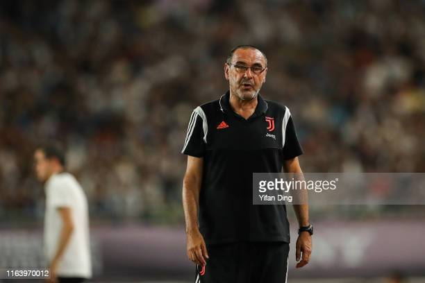 Maurizio Sarri head coach of Juventus reacts during the International Champions Cup match between Juventus and FC Internazionale at the Nanjing...