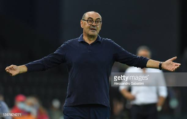Maurizio Sarri head coach of Juventus reacts during the Serie A match between Udinese Calcio and Juventus at Stadio Friuli on July 23 2020 in Udine...