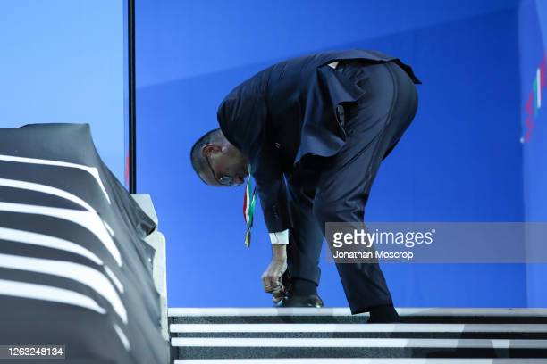 Maurizio Sarri Head coach of Juventus ties his shoelaces as he waits for the trophy presentation following during the Serie A match between Juventus...