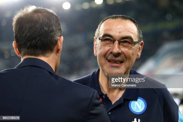 Maurizio Sarri head coach of Ssc Napoli and Massimiliano Allegri head coach of Juventus Fc before the Serie A football match between Juventus Fc and...