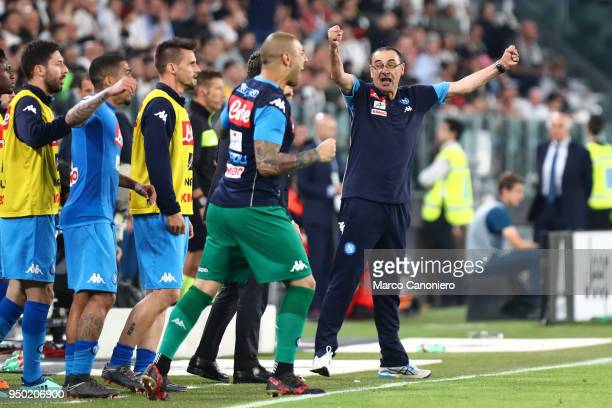 Maurizio Sarri head coach of Ssc Napoli celebrate at the end of the Serie A football match between Juventus Fc and Ssc Napoli Ssc Napoli wins 10 over...