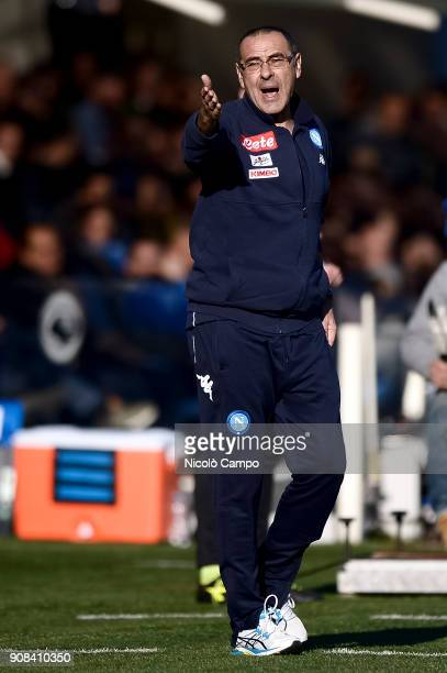 Maurizio Sarri head coach of SSC Napoli gestures during the Serie A football match between Atalanta BC and SSC Napoli SSC Napoli won 10 over Atalanta...
