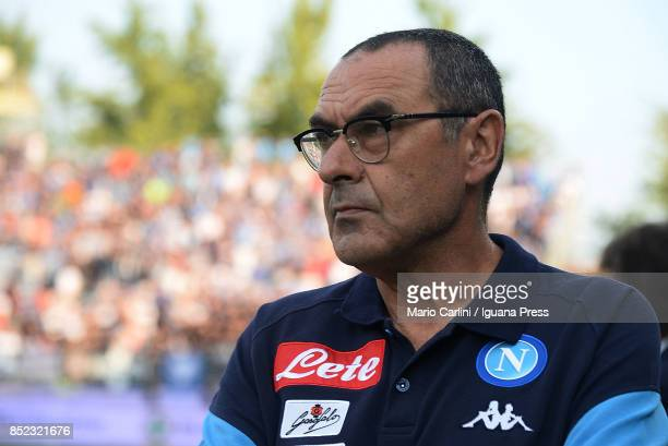 Maurizio Sarri head coach of SSC Napoli looks on before the beginning of the Serie A match between Spal and SSC Napoli at Stadio Paolo Mazza on...