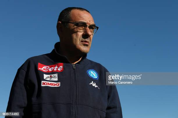 Maurizio Sarri head coach of Ssc Napoli looks on before the Serie A football match between Atalanta Bergamasca Calcio and Ssc Napoli Ssc Napoli wins...