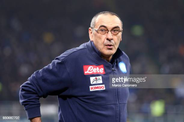 Maurizio Sarri head coach of Ssc Napoli looks on before the Serie A football match between Fc Internazionale and Ssc Napoli The final score was 00
