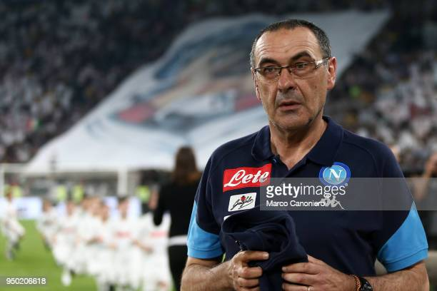 Maurizio Sarri head coach of Ssc Napoli looks on before the Serie A football match between Juventus Fc and Ssc Napoli Ssc Napoli wins 10 over...