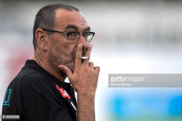 Maurizio Sarri head coach of SSC Napoli smokes a cigarette prior to the preseason friendly football match between Carpi FC and SSC Napoli
