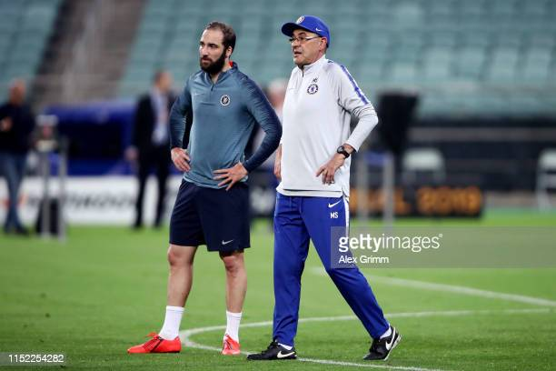 Maurizio Sarri, Manager of Chelsea and Gonzalo Higuain look on during the Chelsea FC training session on the eve of the UEFA Europa League Final...