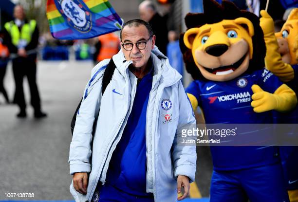 Maurizio Sarri Manager of Chelsea arrives at the stadium ahead of the Premier League match between Chelsea FC and Fulham FC at Stamford Bridge on...